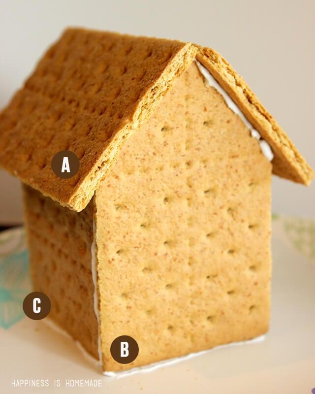Assembling a Graham Cracker Gingerbread House