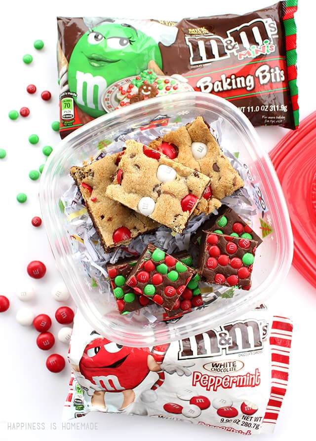 M&M\'s Fudge & Peppermint Cookie Brownie Bars - Happiness is Homemade