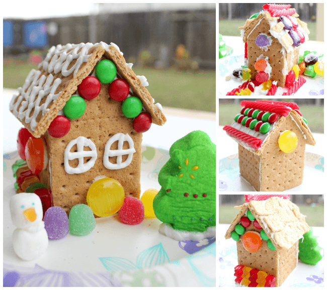 How to make graham cracker gingerbread houses happiness is homemade decorated gingerbread houses made with honey maid graham crackers solutioingenieria Choice Image