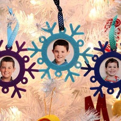 Kids Craft: Snowflake Photo Ornaments