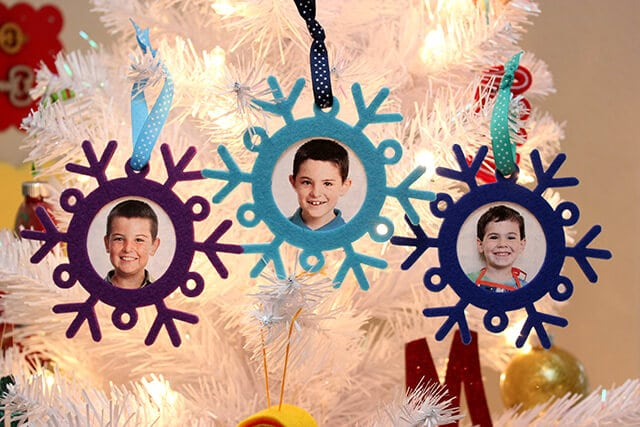 Felt Snowflake Photo Ornaments