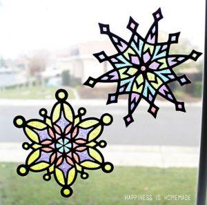 Glitter Glue Snowflake Suncatchers