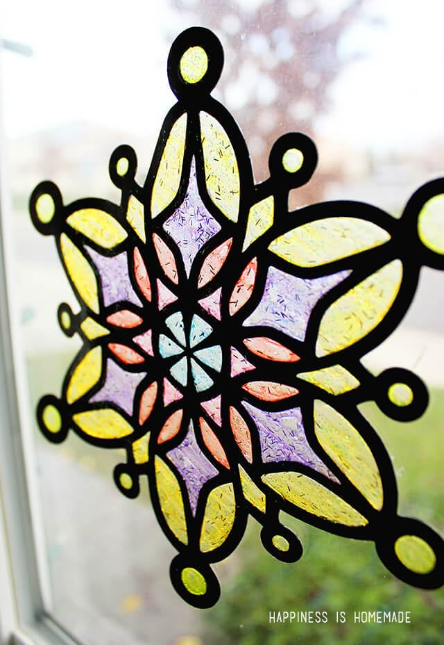 Glitter Stained Glass Snowflakes with Elmers Glitter Glue