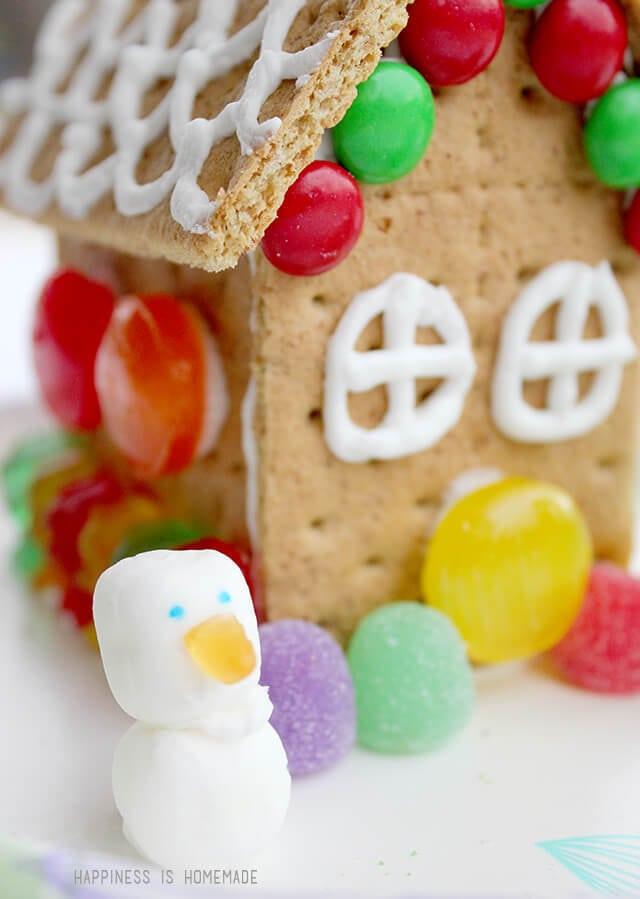 Graham Cracker House with Buttermint Snowman