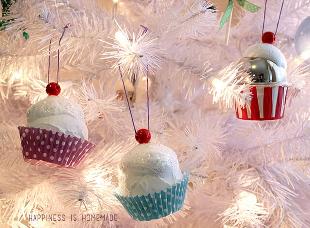 Kid Made Cupcake Christmas Ornaments