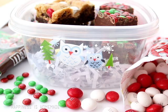 M&Ms Holiday Treats in Glad Christmas Containers