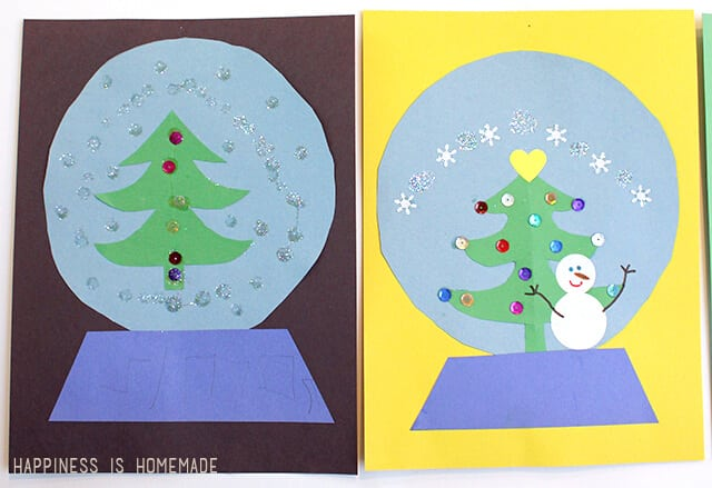 kids craft  paper snow globes