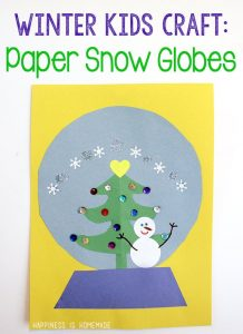 Winter Kids Craft Paper Snow Globe