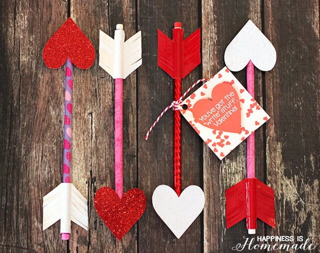 heart pencil arrow valentines + printable gift tag - happiness is, Ideas