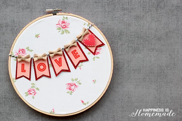Cute Love Banner Hoop Art for Valentine's Day