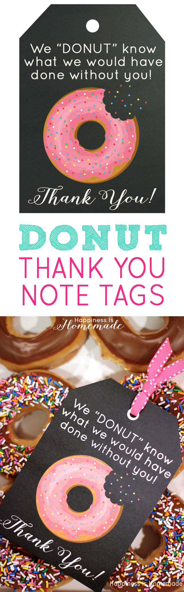 free printable  donut thank you gift tags
