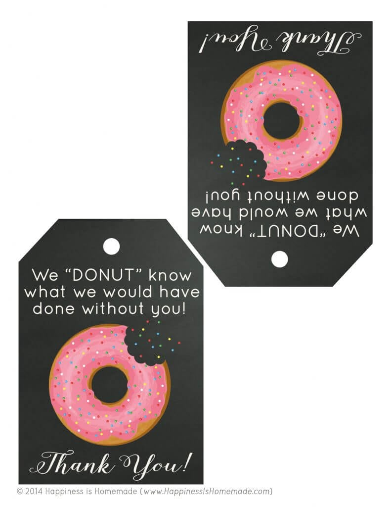Free Printable Donut Thank You Gift Tags Happiness Is