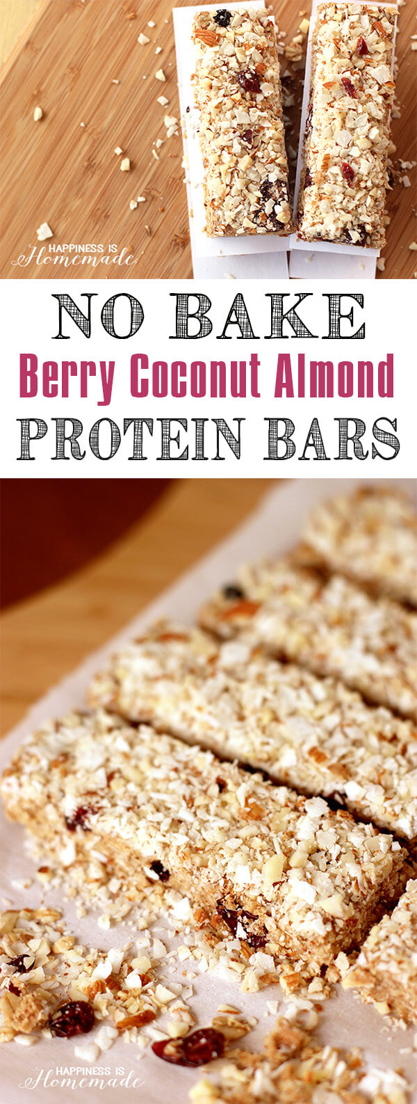 No-Bake Berry Coconut Almond Protein Bars - Happiness is Homemade