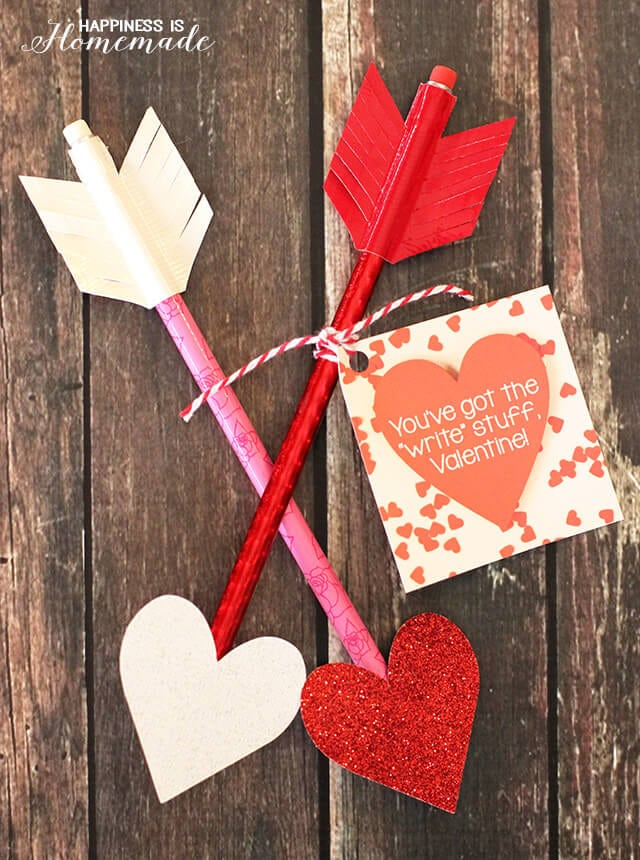 Printable Heart Pencil Arrow Valentine's Day Cards