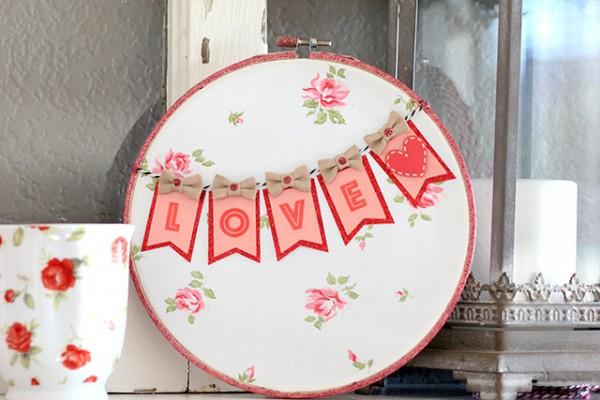 Sweet Valentine's Day Love Hoop Art