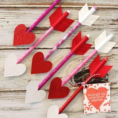 Heart Pencil Arrow Valentines + Printable Gift Tag