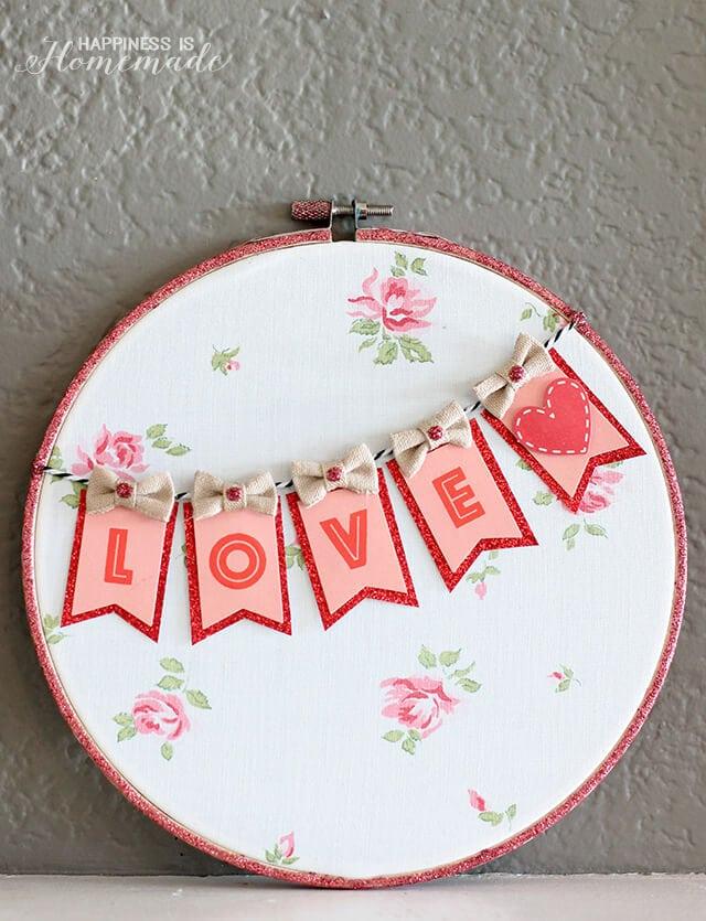 Valentine's Day Decorative Hoop Art