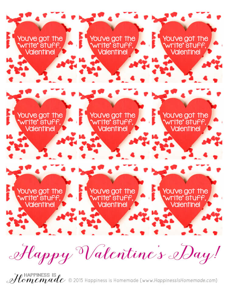 Heart Pencil Arrow Valentines + Printable Gift Tag ...