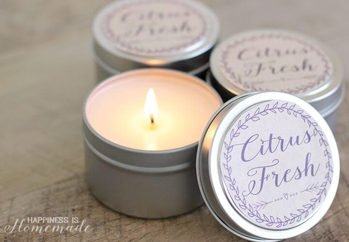 10 Minute Gift Idea: Easy DIY Soy Candles + Printable Labels
