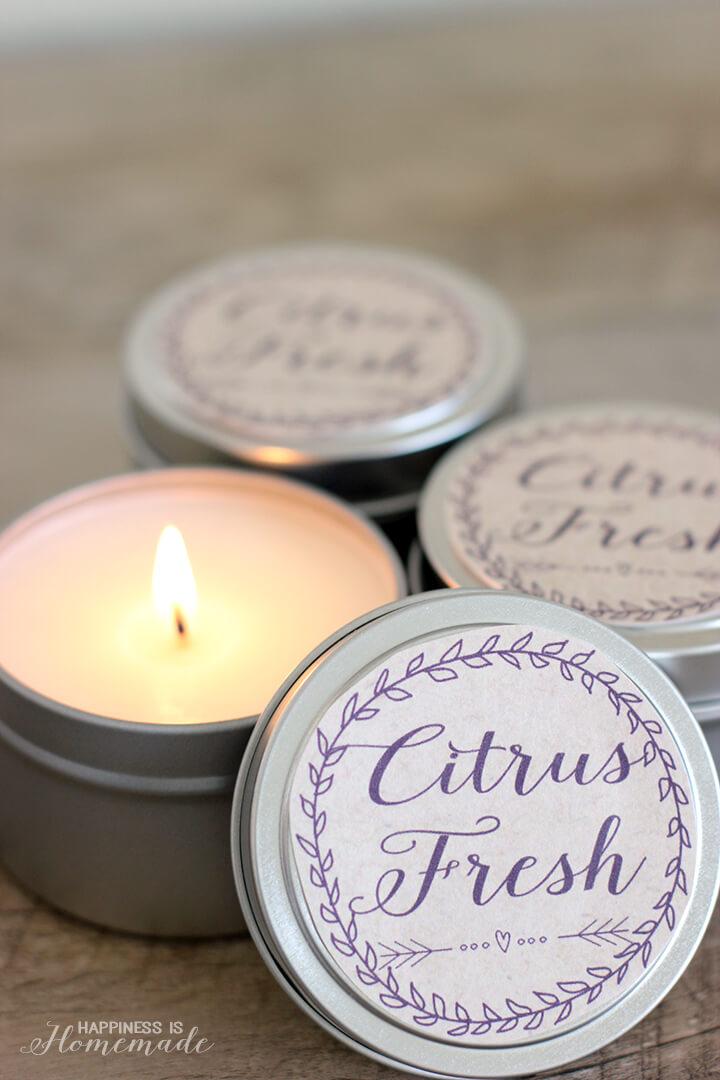10 Minute Gift Idea - DIY Citrus Fresh Soy Candles