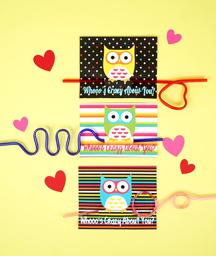 Owl Crazy Straw Valentines Cards Happiness Is Homemade