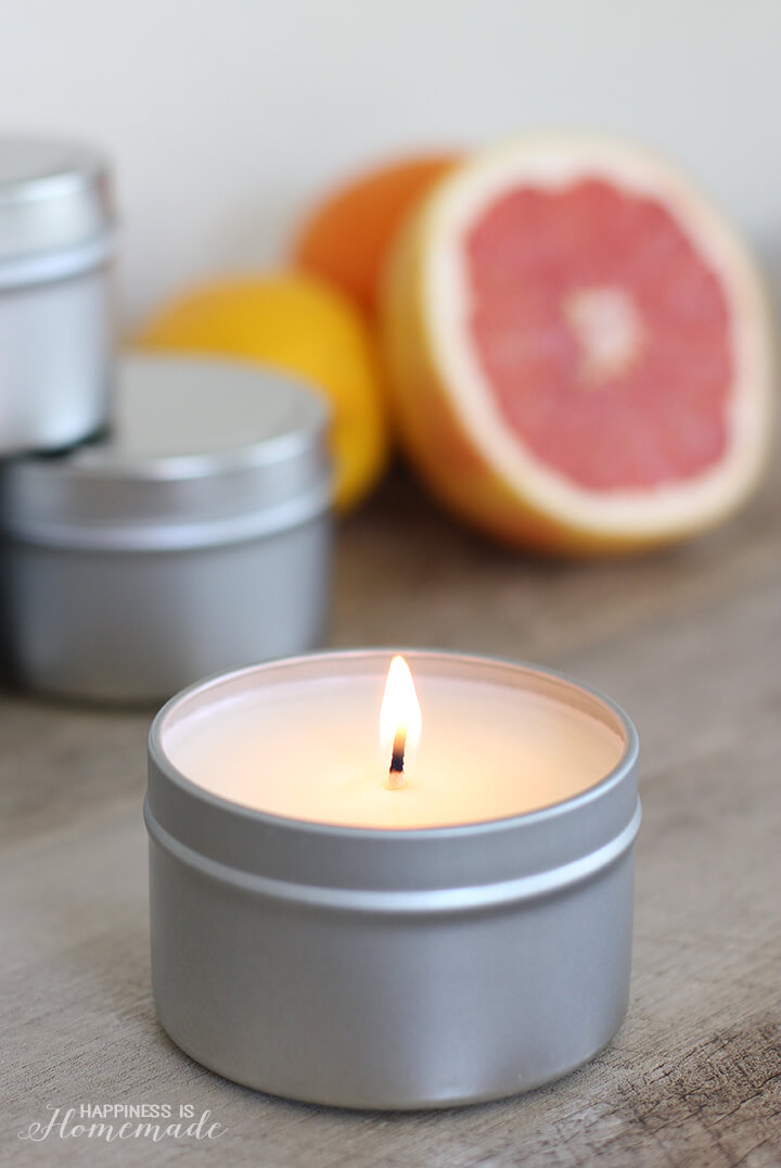 DIY Citrus Fresh Candle in Tin