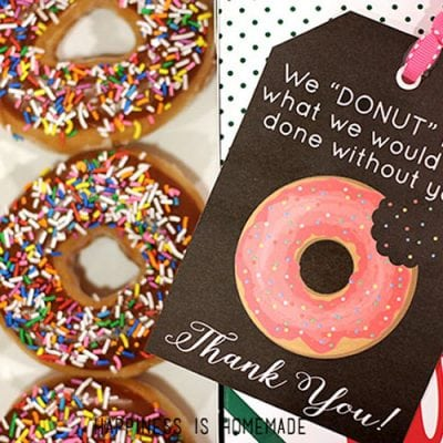 Free Printable: Donut Thank You Gift Tags