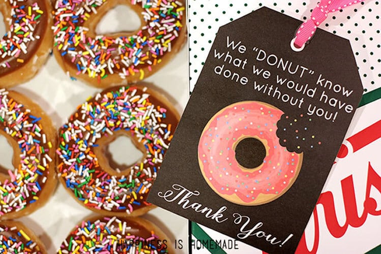 Free Printable: Donut Thank You Gift Tags - Happiness is Homemade