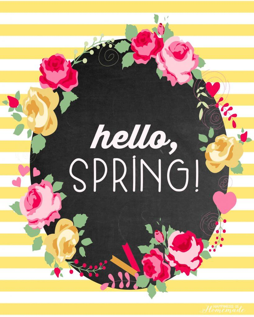 Hello Spring Free Printable Happiness is Homemade