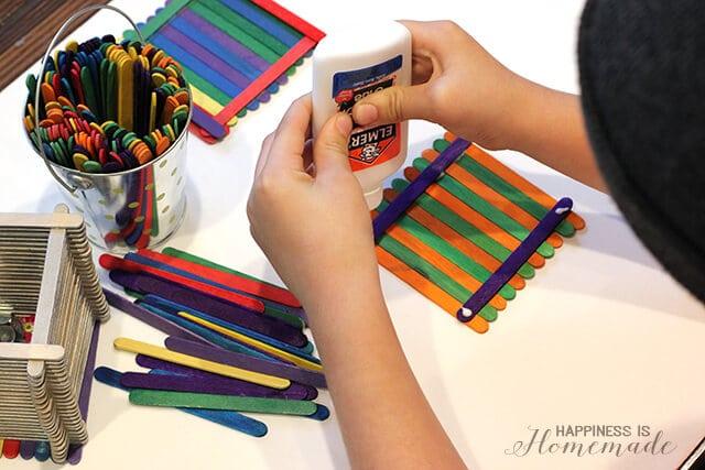 Making Popsicle Stick Treasure Boxes