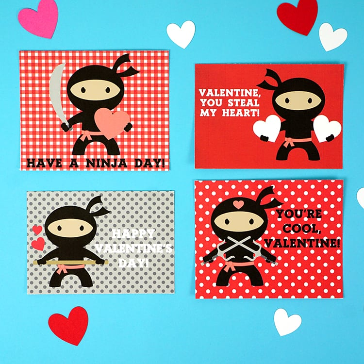 photograph relating to Printable Valentine Picture titled Ninja Printable Valentines Playing cards - Pleasure is Selfmade