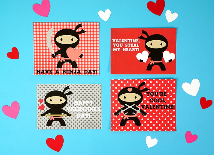 photo about Printable Valentine Cards for Classmates identify Ninja Printable Valentines Playing cards - Joy is Do-it-yourself