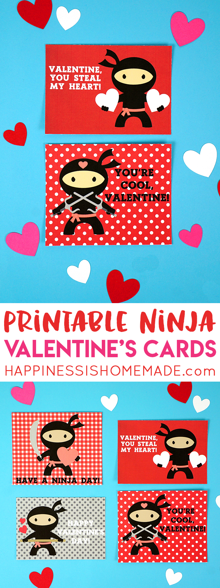 Ninja Printable Valentines Cards - Happiness is Homemade