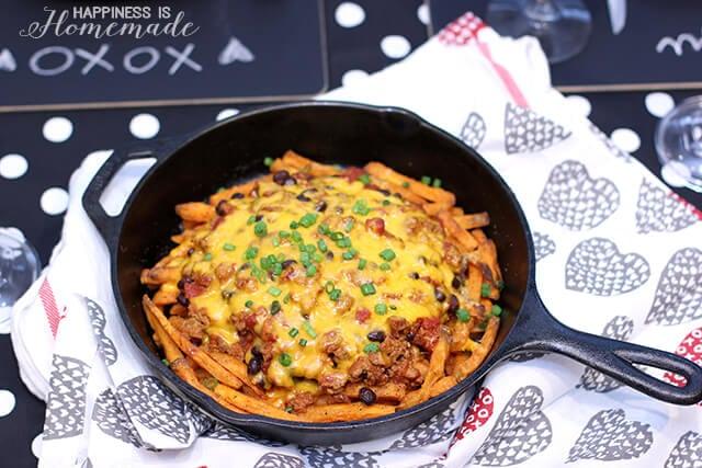 Skillet Skinny Sweet Potato Chili Cheese Fries