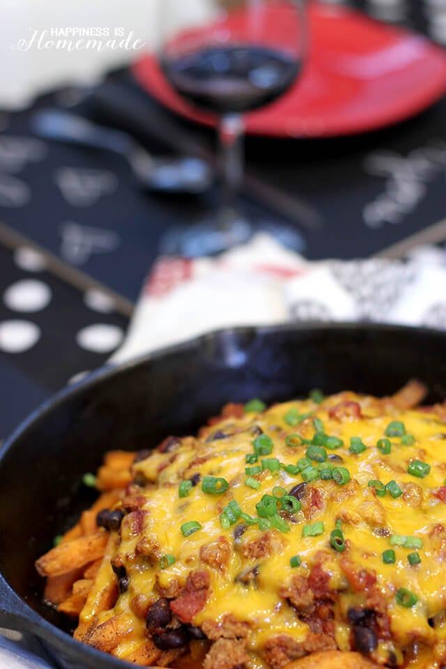 Skinny Skillet Chili Cheese Sweet Potato Fries