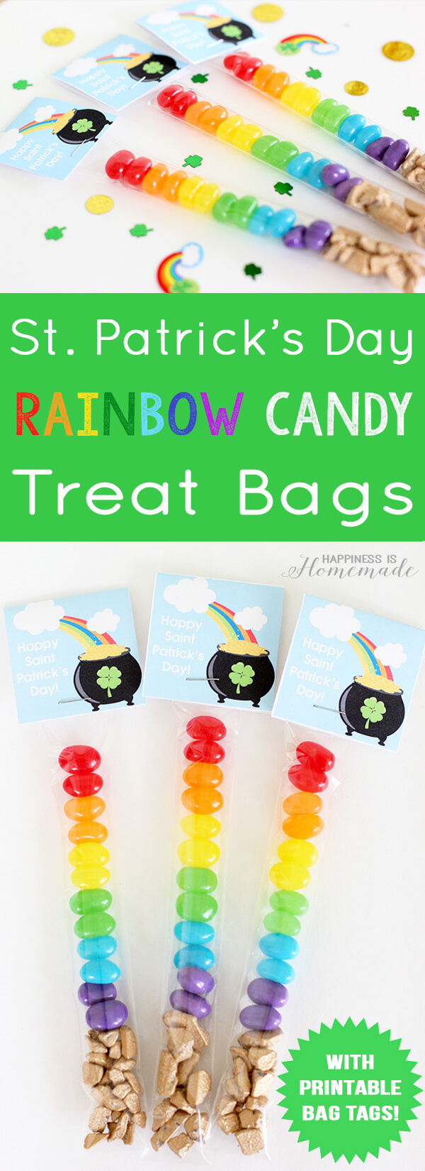 St Patrick's Day Rainbow Candy Treat Bags and Free Printable Toppers