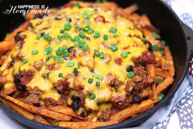 Sweet Potato Chili Cheese Skillet Fries
