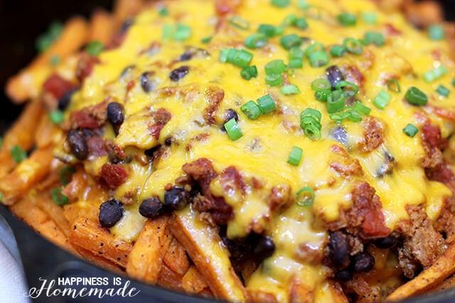 Sweet Potato Skillet Chili Cheese Fries