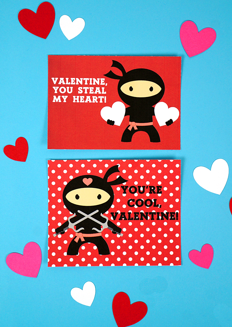 image about Printable Valentine Cards for Classmates identified as Ninja Printable Valentines Playing cards - Joy is Do-it-yourself