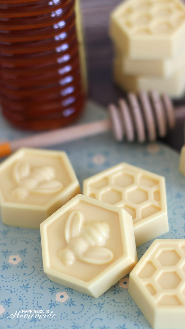 10 Minute DIY Milk and Honey Soap - This easy DIY Milk and Honey soap can be made in just 10 minutes, and it boasts lots of great skin benefits from the goat's milk and honey! A wonderful quick and easy homemade gift idea!