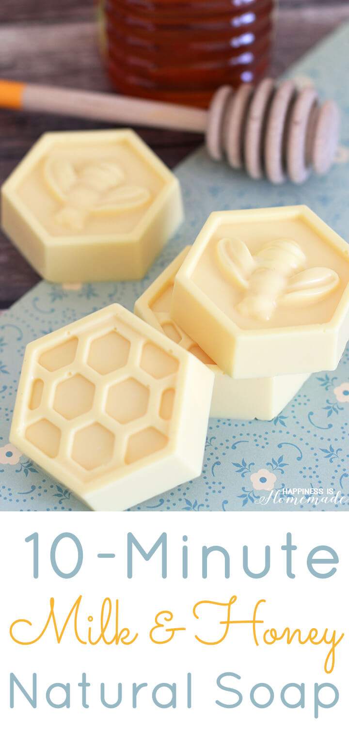 10-Minute Milk & Honey Natural Soap - This easy DIY Milk and Honey soap can be made in just 10 minutes, and it boasts lots of great skin benefits from the goat's milk and honey! A wonderful quick and easy homemade gift idea!