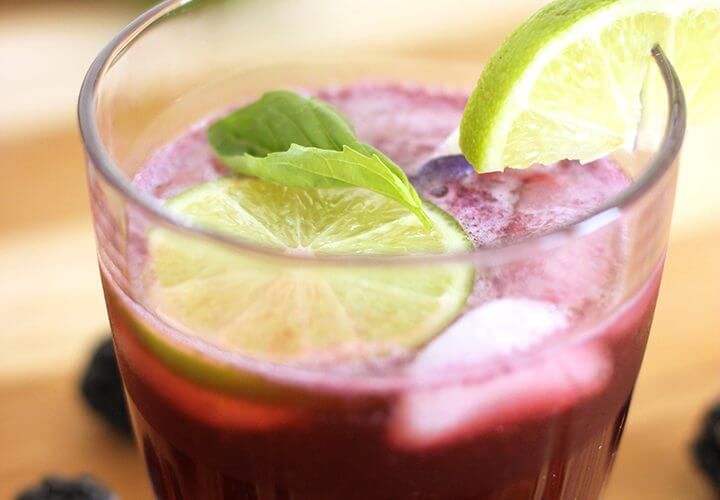 Blackberry + Lime Fizz Cocktail