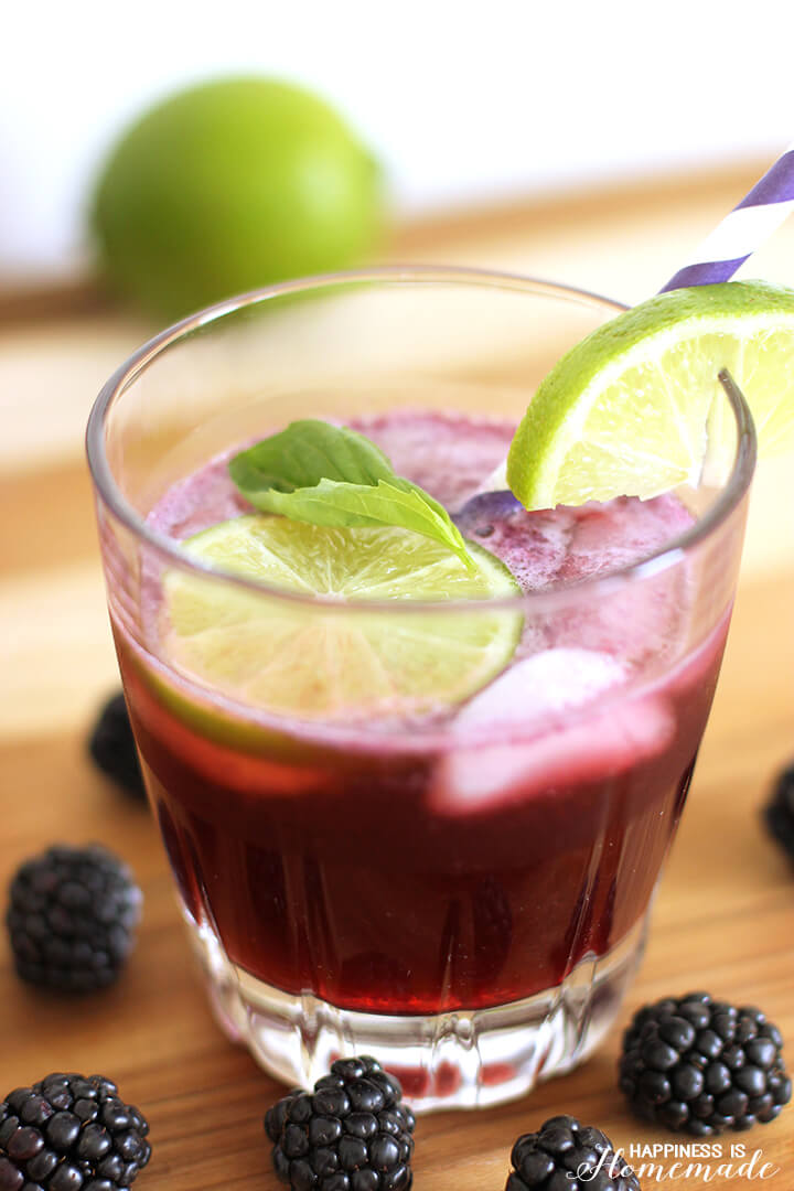 Blackberry + Lime Fizz Cocktail - Happiness is Homemade