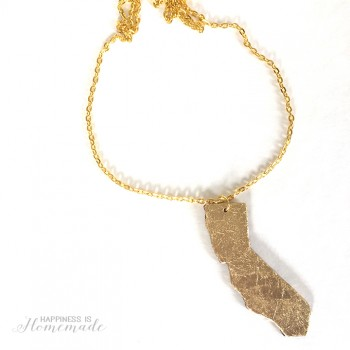 DIY Gold Leaf California Necklace
