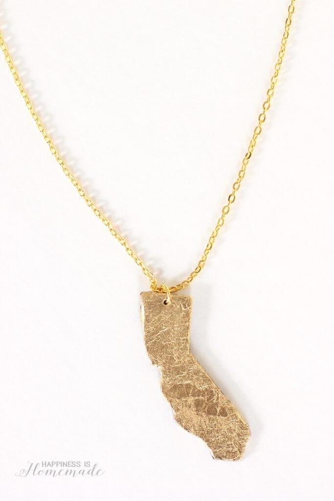 DIY Gold Leaf State Necklace