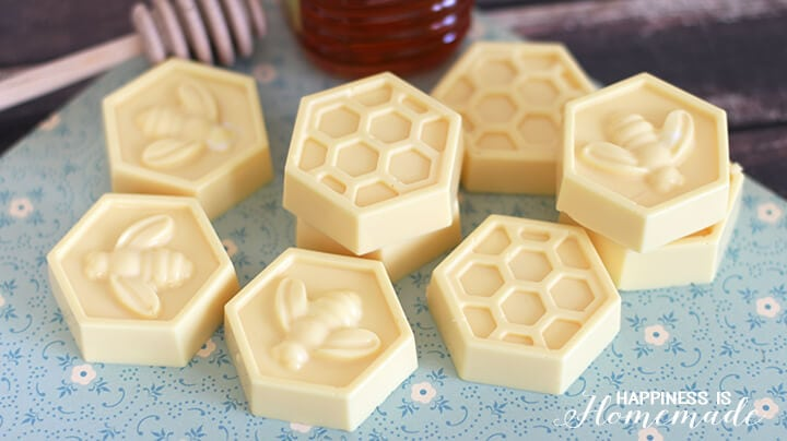 Easy Millk and Honey Soap Tutorial - This easy DIY Milk and Honey soap can be made in just 10 minutes, and it boasts lots of great skin benefits from the goat's milk and honey! A wonderful quick and easy homemade gift idea!