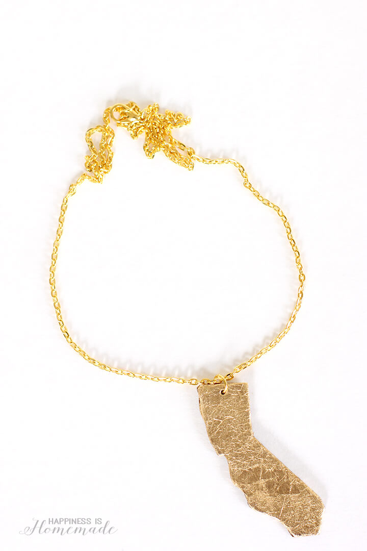 Gold Leaf State Necklace