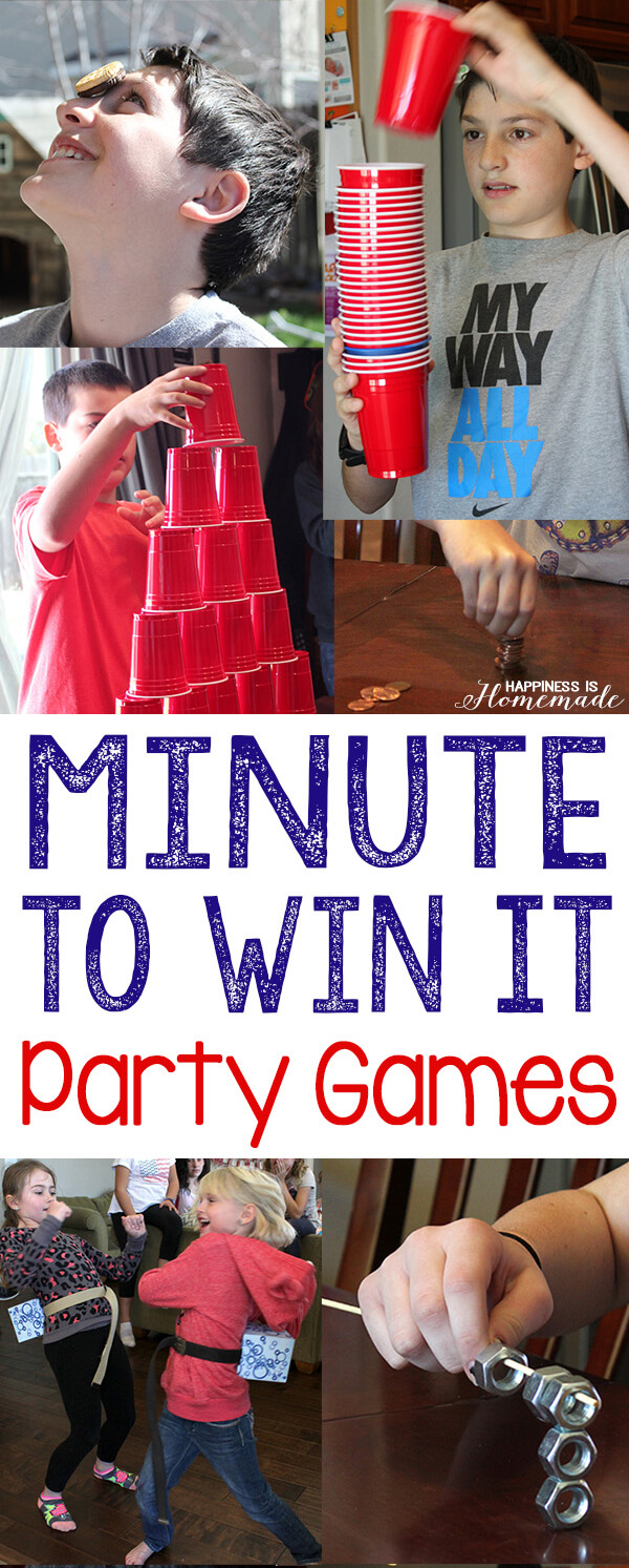 10 awesome minute to win it party games happiness is homemade we recently celebrated my oldest sons 9th birthday with a minute to win it themed birthday party and it was a ton of silly fun solutioingenieria Image collections
