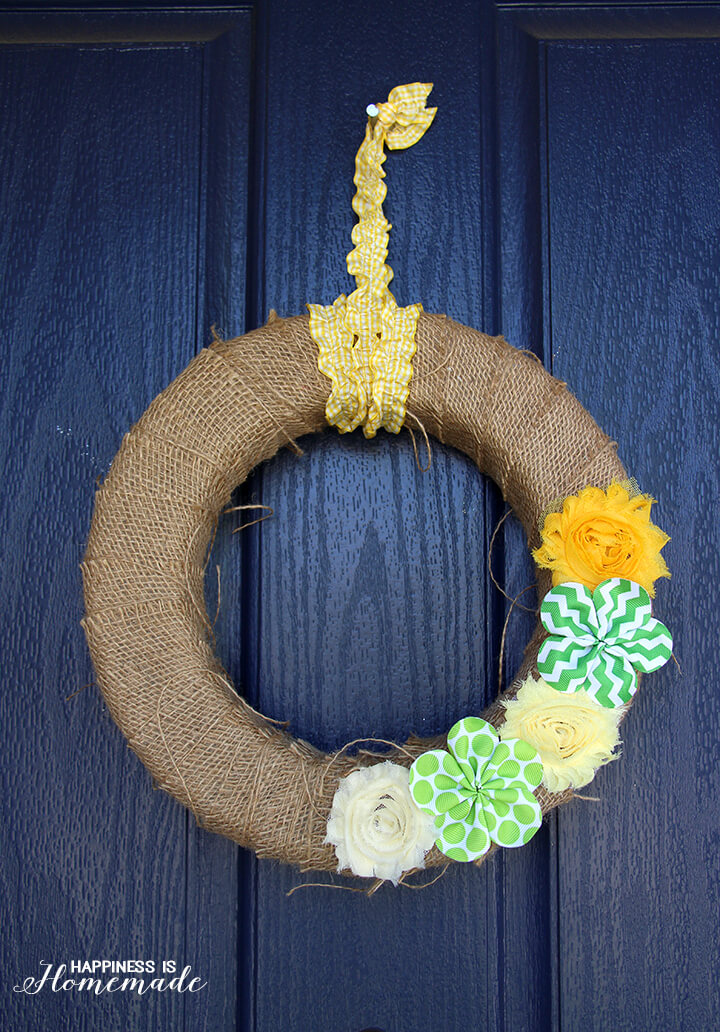 Burlap Spring Flower Wreath