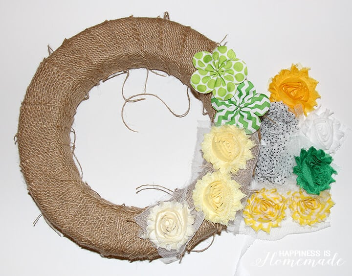 Burlap Wrapped Spring Wreath